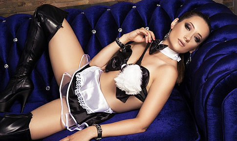 Pretty Submissive Brunette in a Maid Uniform